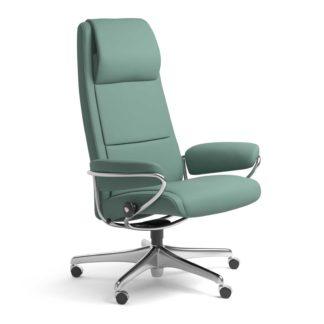 Sessel PARIS High Back Home Office Leder Paloma aqua green Starbase Stahlgestell mit Rollen Stressless