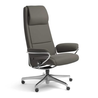 Sessel PARIS High Back Home Office Leder Paloma metal grey Starbase Stahlgestell mit Rollen Stressless