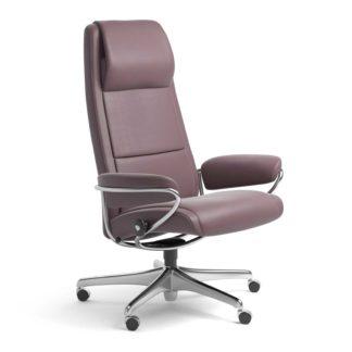 Sessel PARIS High Back Home Office Leder Paloma purple plum Starbase Stahlgestell mit Rollen Stressless