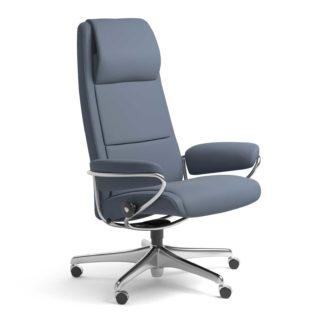 Sessel PARIS High Back Home Office Leder Paloma sparrow blue Starbase Stahlgestell mit Rollen Stressless