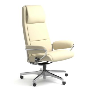 Sessel PARIS High Back Home Office Leder Paloma vanilla Starbase Stahlgestell mit Rollen Stressless
