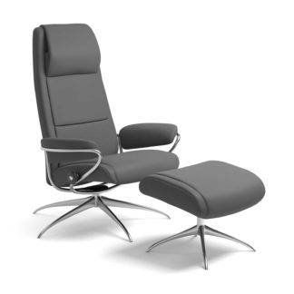 Sessel PARIS High Back mit Hocker Leder Batick grau Starbase Gestell chrom Stressless