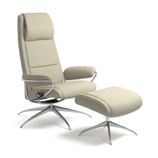 Sessel PARIS High Back mit Hocker Leder Paloma light grey Starbase Gestell chrom Stressless