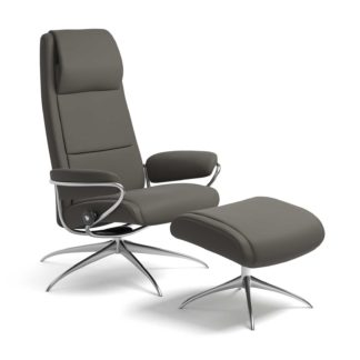 Sessel PARIS High Back mit Hocker Leder Paloma metal grey Starbase Gestell chrom Stressless