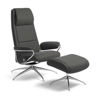 Sessel PARIS High Back mit Hocker Leder Paloma rock Starbase Gestell chrom Stressless