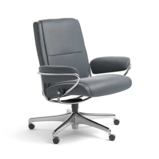 Sessel PARIS Low Back Home Office Leder Batick atlantic blue Starbase Stahlgestell mit Rollen Stressless