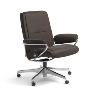 Sessel PARIS Low Back Home Office Leder Batick braun Starbase Stahlgestell mit Rollen Stressless