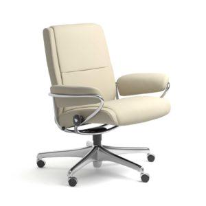 Sessel PARIS Low Back Home Office Leder Batick cream Starbase Stahlgestell mit Rollen Stressless
