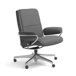 Sessel PARIS Low Back Home Office Leder Batick grau Starbase Stahlgestell mit Rollen Stressless