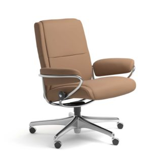 Sessel PARIS Low Back Home Office Leder Batick latte Starbase Stahlgestell mit Rollen Stressless