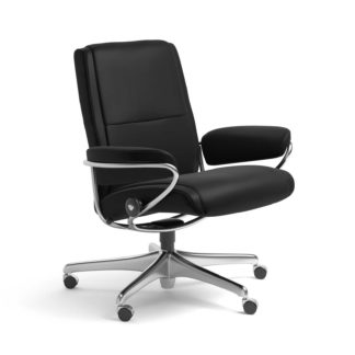 Sessel PARIS Low Back Home Office Leder Batick schwarz Starbase Stahlgestell mit Rollen Stressless