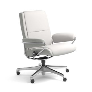 Sessel PARIS Low Back Home Office Leder Batick snow Starbase Stahlgestell mit Rollen Stressless