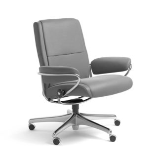 Sessel PARIS Low Back Home Office Leder Batick wild dove Starbase Stahlgestell mit Rollen Stressless