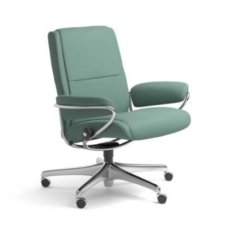 Sessel PARIS Low Back Home Office Leder Paloma aqua green Starbase Stahlgestell mit Rollen Stressless