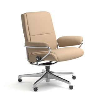 Sessel PARIS Low Back Home Office Leder Paloma beige Starbase Stahlgestell mit Rollen Stressless