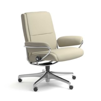 Sessel PARIS Low Back Home Office Leder Paloma light grey Starbase Stahlgestell mit Rollen Stressless