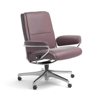 Sessel PARIS Low Back Home Office Leder Paloma purple plum Starbase Stahlgestell mit Rollen Stressless