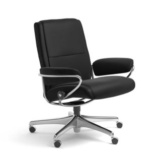 Sessel PARIS Low Back Home Office Leder Paloma schwarz Starbase Stahlgestell mit Rollen Stressless
