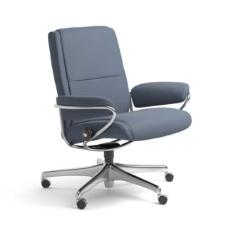 Sessel PARIS Low Back Home Office Leder Paloma sparrow blue Starbase Stahlgestell mit Rollen Stressless