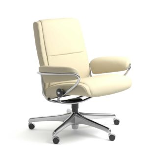 Sessel PARIS Low Back Home Office Leder Paloma vanilla Starbase Stahlgestell mit Rollen Stressless