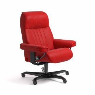 Sessel CROWN Home Office Leder Batick chilli red Gestell schwarz mit Rollen Stressless
