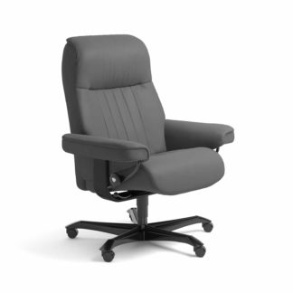 Sessel CROWN Home Office Leder Batick grau Gestell schwarz mit Rollen Stressless
