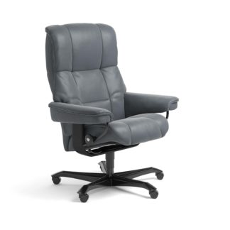 Sessel MAYFAIR Home Office Leder Batick atlantic blue Gestell schwarz mit Rollen Stressless