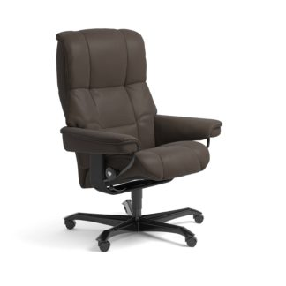 Sessel MAYFAIR Home Office Leder Batick braun Gestell schwarz mit Rollen Stressless