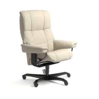 Sessel MAYFAIR Home Office Leder Batick cream Gestell schwarz mit Rollen Stressless