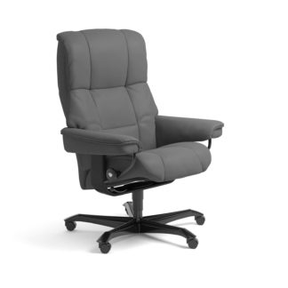 Sessel MAYFAIR Home Office Leder Batick grau Gestell schwarz mit Rollen Stressless