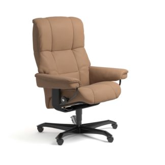Sessel MAYFAIR Home Office Leder Batick latte Gestell schwarz mit Rollen Stressless