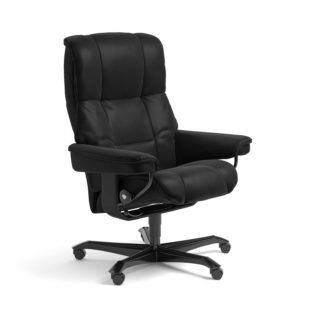Sessel MAYFAIR Home Office Leder Batick schwarz Gestell schwarz mit Rollen Stressless