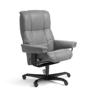 Sessel MAYFAIR Home Office Leder Batick wild dove Gestell schwarz mit Rollen Stressless