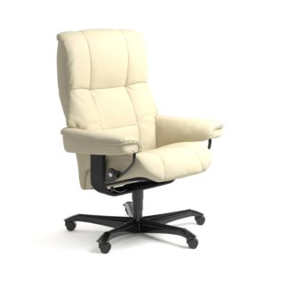 Sessel MAYFAIR Home Office Leder Paloma vanilla Gestell schwarz mit Rollen Stressless