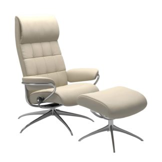 Sessel LONDON High Back mit Hocker Leder Batick cream Gestell chrom Stressless