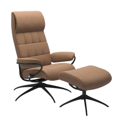 Sessel LONDON High Back mit Hocker Leder Batick latte Gestell matt schwarz Stressless
