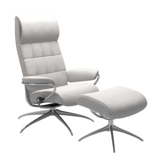 Sessel LONDON High Back mit Hocker Leder Batick snow Gestell chrom Stressless