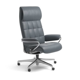 Sessel LONDON High Back Home Office Leder Batick atlantic blue Starbase Stahlgestell mit Rollen Stressless
