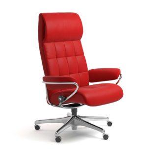 Sessel LONDON High Back Home Office Leder Batick chilli red Starbase Stahlgestell mit Rollen Stressless