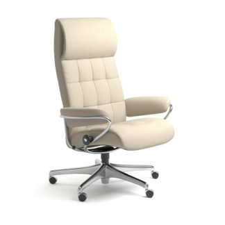 Sessel LONDON High Back Home Office Leder Batick cream Starbase Stahlgestell mit Rollen Stressless