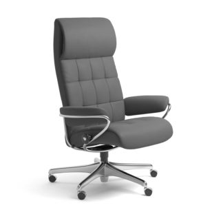 Sessel LONDON High Back Home Office Leder Batick grau Starbase Stahlgestell mit Rollen Stressless