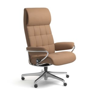 Sessel LONDON High Back Home Office Leder Batick latte Starbase Stahlgestell mit Rollen Stressless
