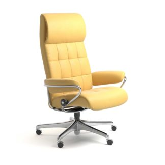 Sessel LONDON High Back Home Office Leder Batick mimosa Starbase Stahlgestell mit Rollen Stressless