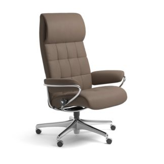Sessel LONDON High Back Home Office Leder Batick mole Starbase Stahlgestell mit Rollen Stressless