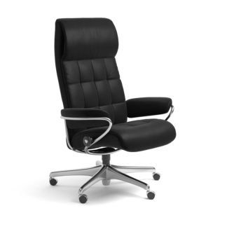 Sessel LONDON High Back Home Office Leder Batick schwarz Starbase Stahlgestell mit Rollen Stressless