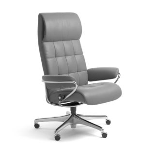 Sessel LONDON High Back Home Office Leder Batick wild dove Starbase Stahlgestell mit Rollen Stressless