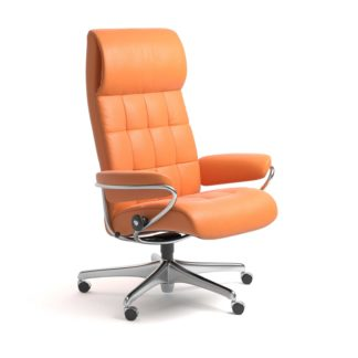 Sessel LONDON High Back Home Office Leder Paloma apricot orange Starbase Stahlgestell mit Rollen Stressless