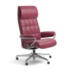 Sessel LONDON High Back Home Office Leder Paloma beet red Starbase Stahlgestell mit Rollen Stressless