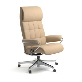 Sessel LONDON High Back Home Office Leder Paloma beige Starbase Stahlgestell mit Rollen Stressless