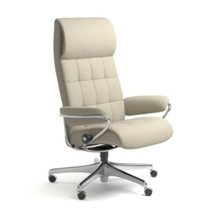 Sessel LONDON High Back Home Office Leder Paloma light grey Starbase Stahlgestell mit Rollen Stressless